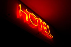 Hotel rosso dell'insegna Fotografia Stock