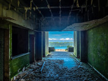 Hotel ruins by Sete Cidades Azores. On island Sao Miguel Royalty Free Stock Photography