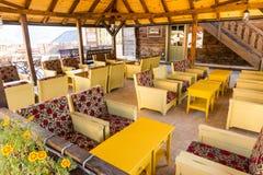 The hotel's restaurant Mechavnik in Drvengrad, Serbia royalty free stock photo