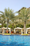 Hotel's swimming pool area in Dubai downtown Stock Images