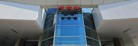 Hotel's three stars. The sign indicates the category tourist hotel as three stars Stock Photography