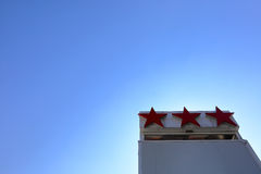 Hotel's three stars. The sign indicates the category tourist hotel as three stars Royalty Free Stock Image