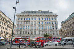 Hotel Sacher - Vienna. VIENNA-AUGUST 3:The Hotel Sacher is a five-star hotel near to the Vienna State Opera. It is famous for  the Sachertorte, a chocolate cake Royalty Free Stock Images