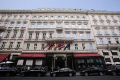 Hotel Sacher in Wenen Stock Afbeeldingen