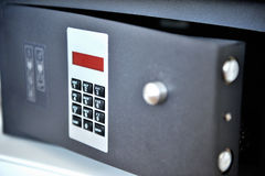 Hotel safe. Metal hotel safe with electronic key Stock Photos