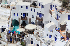The hotel in Santorini, Greece Stock Images