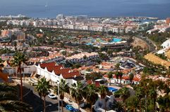Hotel Scenery with Ocean, Tenerife. Panoramic view to south of Tenerife, Spanish Canaries. Image shows different hotels in the front an blue ocean in the Stock Photo