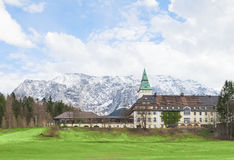 Hotel Schloss Elmau in Bavarian Alpine valley G7 summit 2015 Royalty Free Stock Photo