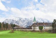 Hotel Schloss Elmau in Bavarian Alpine valley G7 summit 2015. Garmisch, Germany - April 26, 2015: Hotel Schloss Elmau in Bavarian Alpine valley will be the site Royalty Free Stock Photo