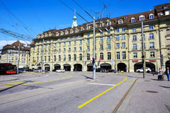 Hotel Schweizerhof in Bern. BERN, SWITZERLAND - SEPTEMBER 13, 2015: Hotel Schweizerhof shows the beauty of its architecture. This five-star hotel was renovated Stock Image