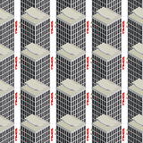 Hotel seamless  pattern. Seamless pattern with a isometric hotels over white background Royalty Free Stock Photo