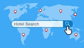 Hotel search engine with world map and gps icon. A hotel search engine with world map and gps icon Royalty Free Stock Photo