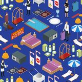 Hotel Service Background Pattern Isometric View. Vector Stock Photography