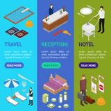Hotel Service Banner Vecrtical Set Isometric View. Vector Royalty Free Stock Images