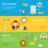 Hotel Service Banners Set. Hotel Service Flat Horizontal Banners Set Isolated Vector Illustration Stock Photos