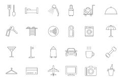 Hotel service black icons set. Set of 24 Hotel service black icons Royalty Free Stock Photo