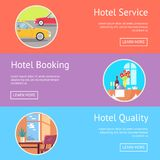 Hotel Service, Booking and Quality Visualization. Hotel service, booking and quality web page design with pictures of restaurant table and neat room. Vector Royalty Free Stock Photo