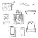 Hotel service concept sketch design icons Royalty Free Stock Photography