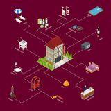 Hotel Service with Equipment Concept Isometric View. Vector Stock Photos