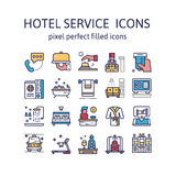 HOTEL SERVICE : Filled outline icons , pictogram and symbol collection. Royalty Free Stock Image
