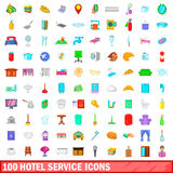 100 hotel service icons set, cartoon style Royalty Free Stock Images