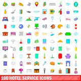 100 hotel service icons set, cartoon style. 100 hotel service icons set in cartoon style for any design illustration royalty free illustration