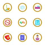 Hotel service icons set, cartoon style Royalty Free Stock Photo
