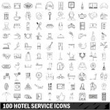 100 hotel service icons set, outline style Royalty Free Stock Images