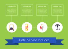 Hotel Service Includes on Vector Illustration. Hotel service includes written on blue ribbon and icons of cart with baggage, do not disturb card, keys and wifi Stock Photo