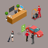 Hotel Service Isometric Icons Set Stock Photos
