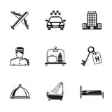 Hotel and service monochrome black icons set with Royalty Free Stock Photography