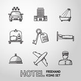 Hotel and service monochrome freehand icons set Stock Photography