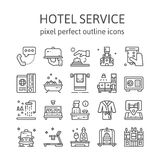 HOTEL SERVICE : Outline icons , pictogram and symbol collection. Stock Photography