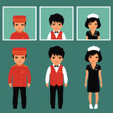 Hotel service profession. Vector icon hotel service profession, cartoon worker uniform, room service Stock Photography
