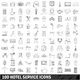 100 hotel service icons set, outline style. 100 hotel service set in outline style for any design illustration royalty free illustration