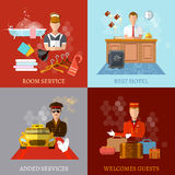 Hotel service set. Reception reservation cleaning concierge taxi driver vector illustration Stock Photography