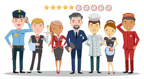 Hotel service. Hotel worker service group Of hotel. Waitress, manager, Housekeeping, Hotel luggage, Receptionist, Chef, Security guard,Character set Team work royalty free illustration
