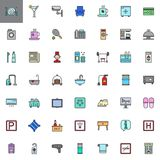 Hotel services and facilities filled outline icons set Royalty Free Stock Images