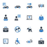 Hotel Services and Facilities Icons, Set 1 - Blue. This set contains 16 hotel services and facilities icons that can be used for designing and developing royalty free illustration