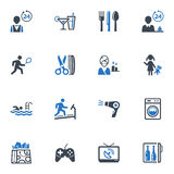 Hotel Services and Facilities Icons, Set 2 - Blue. This set contains 16 hotel services and facilities icons that can be used for designing and developing royalty free illustration