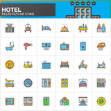 Hotel services and facilities line icons set, filled outline vector symbol collection, linear  colorful pictogram pack. Signs, log Royalty Free Stock Image
