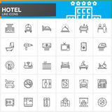 Hotel services and facilities line icons set, outline vector symbol collection, linear  pictogram pack. Signs, logo illustration. Set includes icons as hotel Royalty Free Stock Image