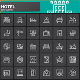 Hotel services and facilities line icons set, outline vector symbol collection, linear white pictogram pack. Signs, logos. Set includes icons as hotel, bed vector illustration