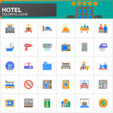Hotel services and facilities vector icons set, modern solid symbol collection  Stock Photo