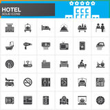 Hotel services and facilities vector icons set, modern solid symbol collection, filled style pictogram pack. Signs, logo illustrat Royalty Free Stock Images