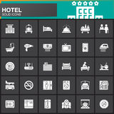 Hotel services and facilities vector icons set, modern solid symbol collection, filled white pictogram pack. Signs, logo illustrat. Ion. Set includes icons as vector illustration