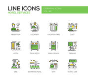 Hotel Services - flat design line icons set Stock Image