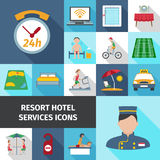 Hotel Services Flat Icon Set Royalty Free Stock Photo