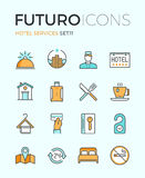 Hotel services futuro line icons Royalty Free Stock Images
