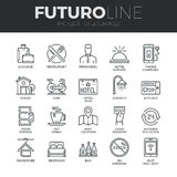 Hotel Services Futuro Line Icons Set Stock Photo